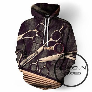 ALMOSUN Barbershop Fashion 3D All Over Print Pullover Hoodies Hip Hop Jumper Funny Hipster Sportswear Unisex