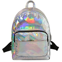 women backpack hologram laser backpacks girl school bag female simple silver bags leather holographic sac big medium small size