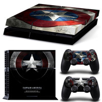 Captain America Sticker Skin Decal with 2Pcs Controller Skin Decal PS4