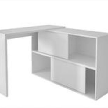 Accentuations by Manhattan Comfort Bari Bookcase Desk  with 4 Shelves in White