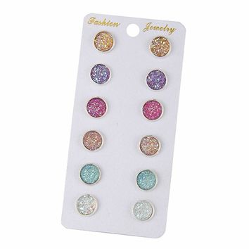 STYLEDOME Bling Earring Sets 6 Pairs / Set Mixed Color Cute Round Stud Earrings