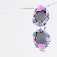 Large Oversized Round Framed Sunnies with Mirror Lens and flowers