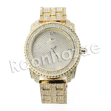 HIP HOP ICED OUT RAONHAZAE LIL WAYNE LUXURY GOLD FINISHED LAB DIAMOND WATCH X5