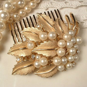 Designer TRIFARI Vintage Ivory Pearl & Rhinestone Brushed Gold Bridal Hair Comb, Rose Gold Leaf Pin to Vintage Wedding Accessory Rustic Chic