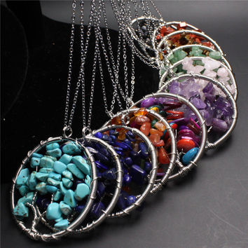 7 Chakra Reiki healing Natural Rainbow Life tree Yoga Treatment Necklace Pendant Natural Stone Pendant Necklace for women