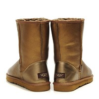 UGG Woman Men Fashion Leather Half Boots Snow Boots Shoes