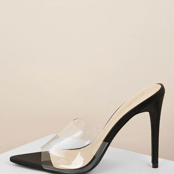 Pointed Sole Clear Band Stiletto Heel Mules