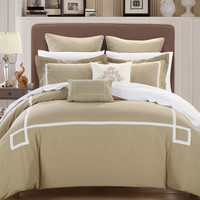 Chic Home Wilma Taupe Queen - 7 pc Embroidered Comforter Set