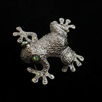 Adorable Vintage Green Eyed Frog Pin, Marcasite Like Frog Brooch, Kermit, Toad
