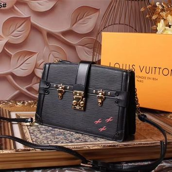 LV Louis Vuitton WOMEN'S MONOGRAM CANVAS PETITE MALLE TRUNK CLUTCH SHOULDER BAG