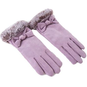 [16366] Suede Gloves With Ribbon