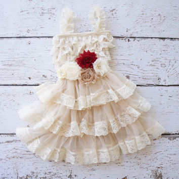 flower girl dress, lace ivory flower girl dresses, baby lace dress, toddler girls dress, dress with sash, rustic girls wedding dress, shabby