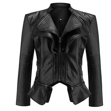 Gothic faux leather Jacket Women Fashion Black faux leather coats Outerwear Jacket