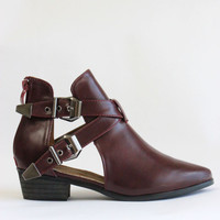 Burgundy Buckle Cut Out Ankle Boots