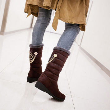 Fashion Women Knee High Boots for Autumn and Winter New Arrive Rhinestone Mid Calf 4470