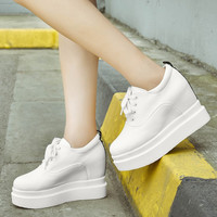 Lace Up Height Increasing Platform Wedge Shoes 1656