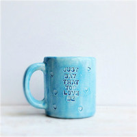 Ceramic Coffee Mug - Teal Ceramics - Coffee Cup - Hand Stamped Ceramics - Gifts For Her
