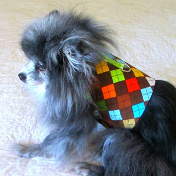 Multicolored Little Dogs' Pinwale Corduroy Argyle Made to Order Harness Vest for Toy Poodle & Other Small Dogs/Cats