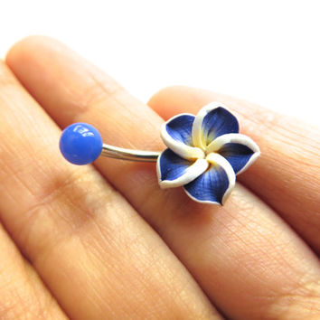 Blue Hawaiian Flower Plumeria Belly Button Ring Hawaii Navel Stud Jewelry Bar Barbell Piercing Tropical Hibiscus