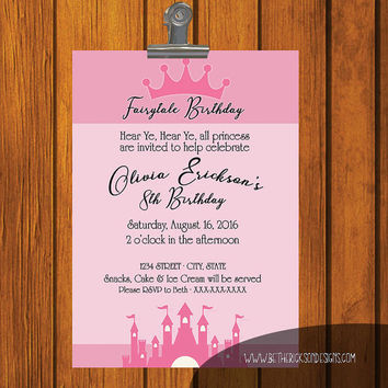 Fairytale Birthday Invitation / Young girl / Digital Download / Birthday Party / pink / princess / princess invitation / Digital File
