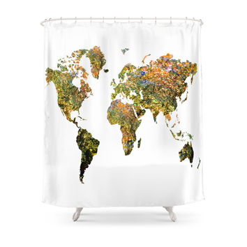 Society6 World Map Shower Curtains
