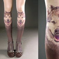 Tattoo Tights -  nude color one size Doggy full length printed tights closed toe pantyhose tattoosocks tattootights