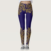 Elegant golden mandala dark blue leggings