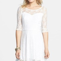 Junior Women's BP. Long Sleeve Lace Skater Dress