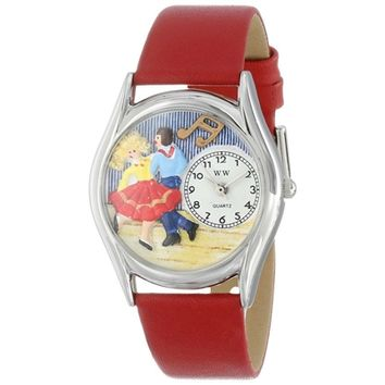 SheilaShrubs.com: Women's Square Dancing Red Leather Watch S-0510007 by Whimsical Watches: Watches