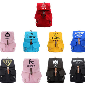 2015 NEW Kpop EXO SJ BIGBANG 2PM G-DRAGON SNSD CANVAS SCHOOL BAG BACKPACK knapsack Unisex Shoulder bag Candy Colors Portable Bag