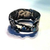 Sterling Silver Ring. Men or Women One of a Kind. with Gemstones. Band embellished with  Emerald, Blue Topaz, Faux Opal