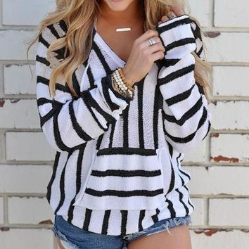 Sheena Striped Hooded Pullover