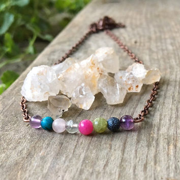 Crystal necklace, stone necklace, gemstone necklace, colorful necklace, Multi stone necklace, healing stones and crystals, chakra necklace