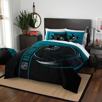 San Jose Sharks NHL Full Comforter Set (Soft & Cozy) (76 x 86)