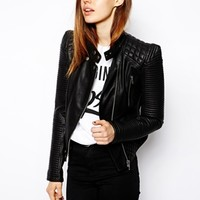 ASOS Leather Look Structured Sleeve Jacket