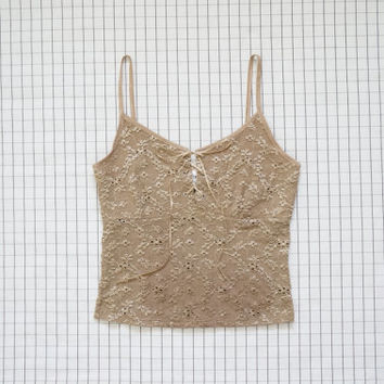 90's Top, Nude Eyelet Lace Up Cami, Lace Up Top, 90's Soft Grunge, Babe, Clueless, Tan Cami, Neutral Tone, Aesthetic, Tumblr, M