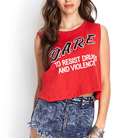 FOREVER 21 D.A.R.E. Cropped Muscle Tank Red/Black