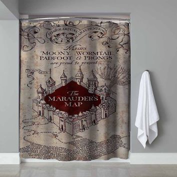 "New Rare Marauders Map Herry Potter Exclusive Design Shower Curtain 60""x72"""