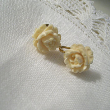 Vintage Ivory White Rose Earrings  Gold Filled by CottageChicKay
