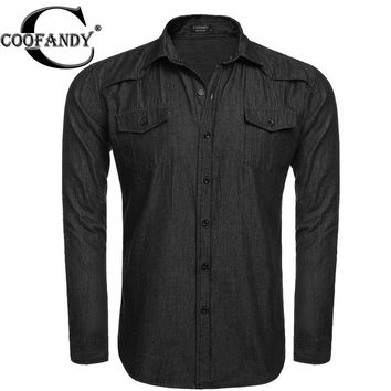 COOFANDY Men's Denim Long-Sleeve Casual Denim Shirt