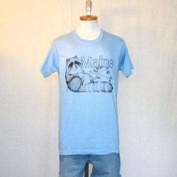 Vintage Deadstock 1978 MAINE RACCOON GRAPHIC Nature Animals Soft Thin Medium Screen Stars 50/50 T-Shirt