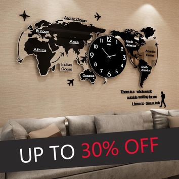 Large World Map Luminova Wall Clocks Modern Design 3D Digital Glow in Dark Hanging Clock Ultra Quiet Acrylic Watch