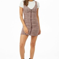 Glen Plaid Mini Pinafore Dress