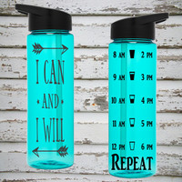 I Can And I Will 24oz Water Intake Tracker Bottle