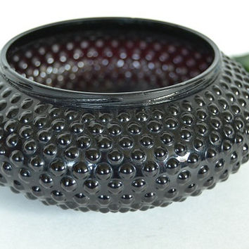 Black Amethyst Hobnail Powder Jar