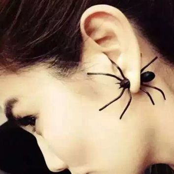 Fashion personality alternative Funny black spider before and after with earrings