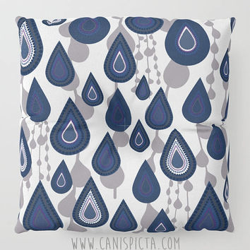 Floor Pillow It's Raining It's Pouring Round Square Cushion Decorative Graphic Print Navy Grey Geometric White Blue Home Decor Cute Pouf Dot