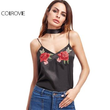 COLROVIE Summer Women Tops Black Embroidered Rose Patch Sexy Cami Top With Neck Tie Clothing 2017 Vintage V Neck Satin Camisole