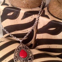 Red Pendant Silver Necklace