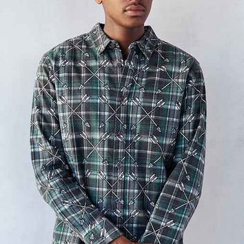 Stussy Arrows Plaid Long-Sleeve Button-Down Shirt- Olive